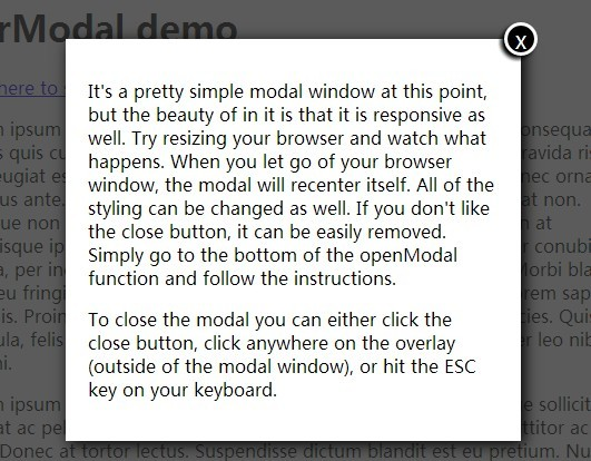 Responsive & Auto-Centering Modal Window Plugin with jQuery - egrModal