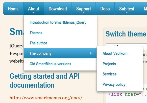 Responsive and Cross-platform jQuery Navigation Menu Plugin - Smart Menus