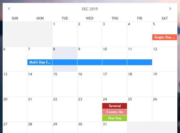 Responsive Event Calendar & Date Picker jQuery Plugin - Monthly