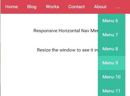 Responsive Horizontal Nav Menu with jQuery and CSS
