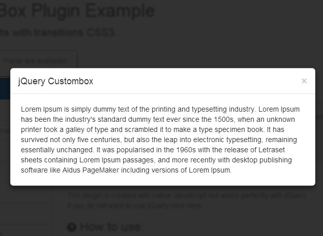 Responsive jQuery Modal Window Plugin with CSS3 Transitions - Custombox