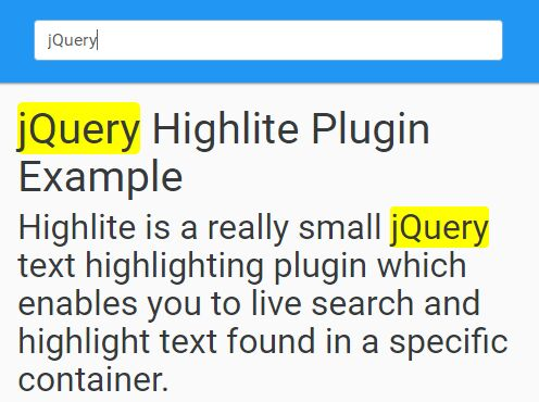 Search Keyword Highlighting Plugin With jQuery - Highlite