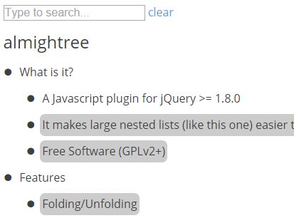 Searchable And Collapsible Tree View Plugin With jQuery - almightree