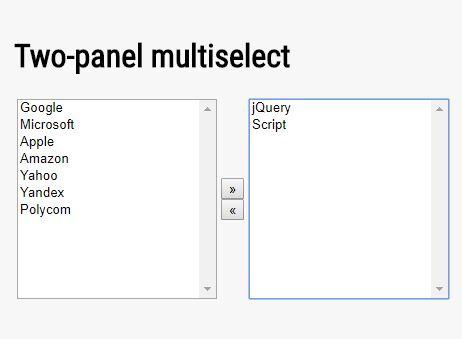 Side-by-side Multi Select Plugin With jQuery - multiSelect.js