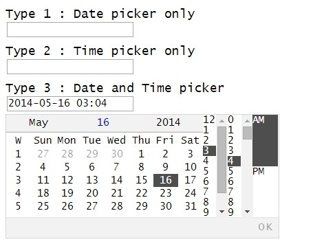 Simple Animated jQuery Date & Time Picker - myjqdatepicker