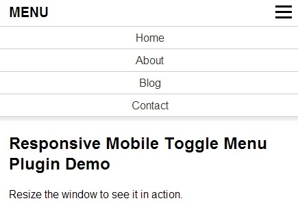 Simple Clean Responsive Mobile Toggle Menu Plugin For jQuery