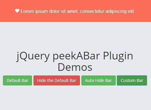 Simple Customizable jQuery Notification Bar Plugin - peekABar