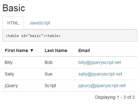 Simple data grid table plugin with jquery and bootstrap for Javascript table insertcell th