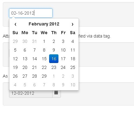 Simple jQuery Date Picker for Bootstrap