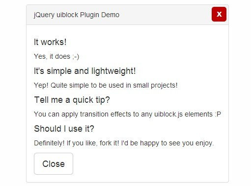 Simple Lightweight Modal Plugin with jQuery and Bootstrap - uiblock