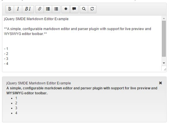 Simple Markdown Editor And Pa<font color='red'>rse</font>r Plugin For jQuery - SMDE