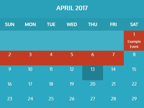 Monthly Calendar Using Javascript : Create a basic weekly schedule with hour selector using