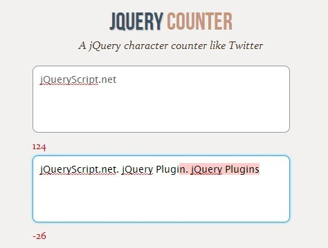 Simple Twitter-Like jQuery Character Counter Plugin