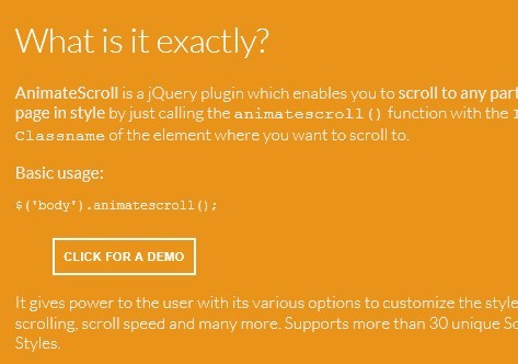 Simple jQuery Animated Scroll To Plugin - Animate Scroll
