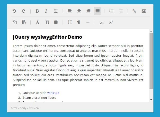 Simple jQuery Based HTML5 WYSIWYG Editor - wysiwygEditor