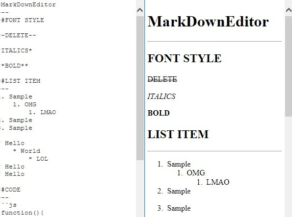 Simple jQuery Based Markdown Editor with Live Preview