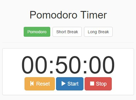 Simple jQuery & Bootstrap Based Pomodoro Timer App - Pomodoro-timer