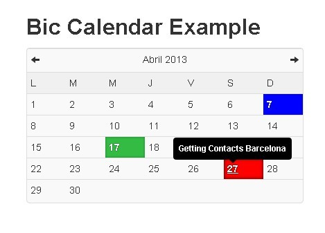 Simple jQuery Calendar and Schedule Plugin For Bootstrap - Bic