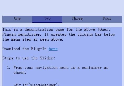 Simple jQuery Navigation Menu Slider - menuSlider