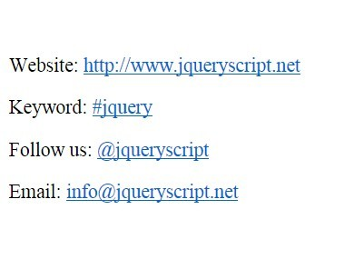 Simple jQuery Plugin For Auto Twitter Links - Twitter Autolink