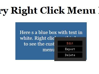 Simple jQuery Right Click Menu Plugin