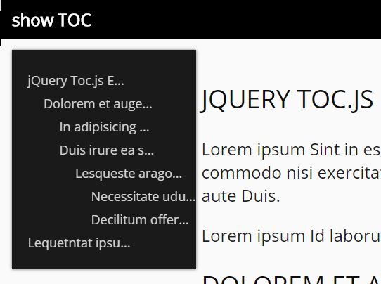 Simple jQuery TOC Generator With Smooth Scroll - Toc.js