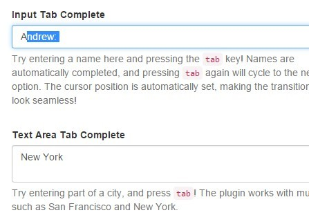 Simple jQuery Tab Completion Plugin - Tab Complete