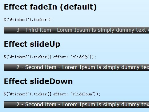 Simple jQuery Vertical Ticker Plugin - Ticker