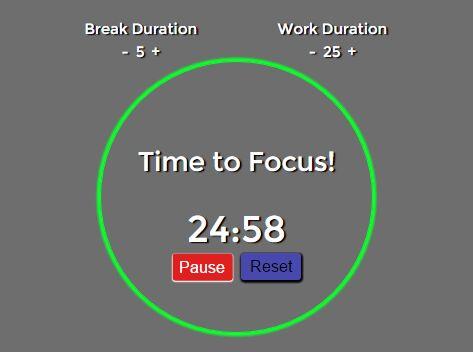 Small Pomodoro Productivity Timer with jQuery