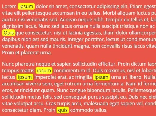 Smart Text Highlighting Plugin with jQuery - jQuiteLight