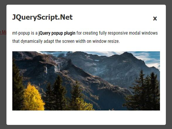 Smooth Adaptive Modal Window Plugin - jQuery mt-popup