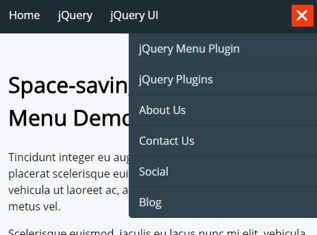Space-saving Responsive Menu with jQuery and CSS3
