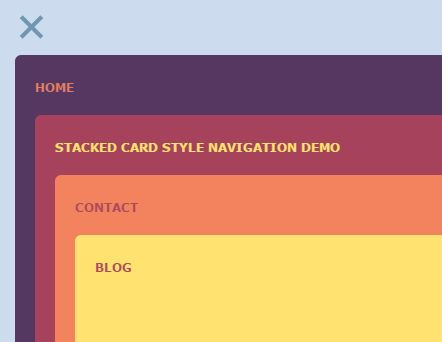 Stacked Card Style Navigation Menu with jQuery and CSS3