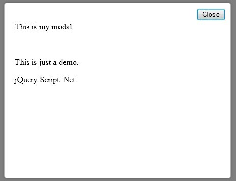 Super Simple jQuery Modal Plugin - Basic Modal
