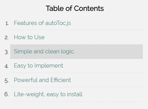 Automatic TOC Generator With Smooth Scroll - autoToc.js