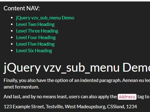 Simple Table of Contents And Smooth Scroll In jQuery - vzv_sub_menu