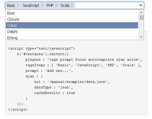 Tag input & Autocomplete Plugin - TextExt