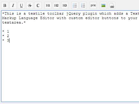Textile Editor For Textarea - jQuery textileToolbar