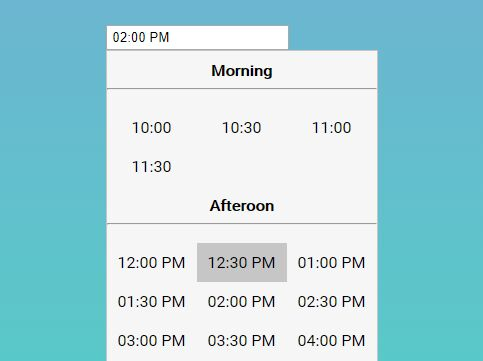 Unobtrusive Time Picker Dropdown Plugin - jQuery timeSelect.js