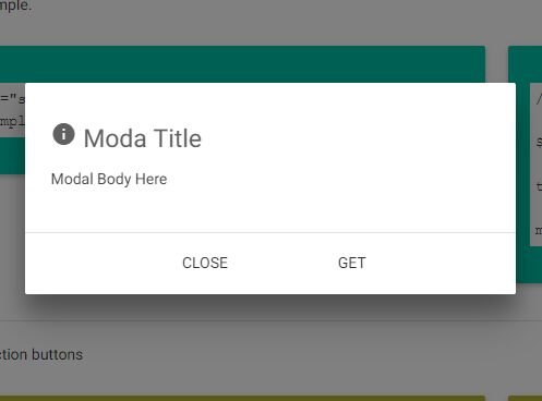 Tiny jQuery Modal Extension For Materialize Framework