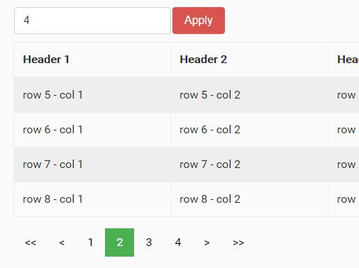 Tiny jQuery Pagination Widget For HTML Table - table hpaging