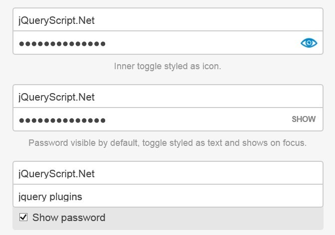 Toggle Password Visibility With jQuery - hideShowPassword