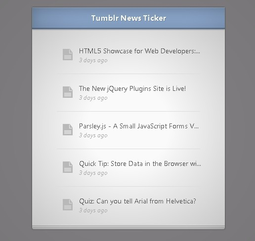 Tumblr News Ticker Widget with jQuery