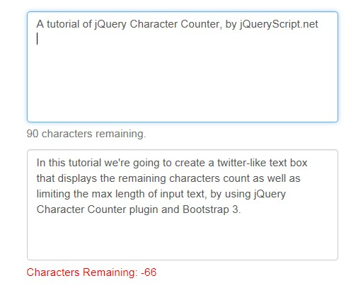 Twitter-Like Text Box Character Counter with jQuery and Bootstrap
