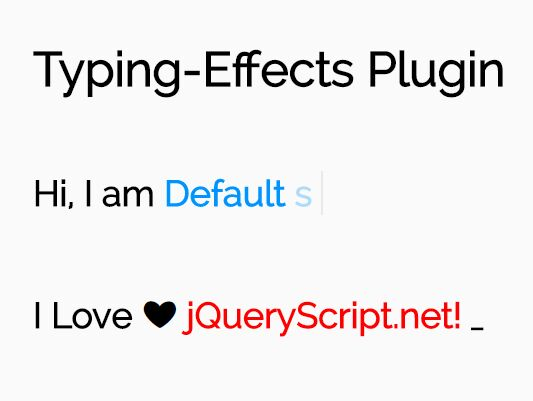 Simple Configurable Text Typing Animation - jQuery Typing-Effects