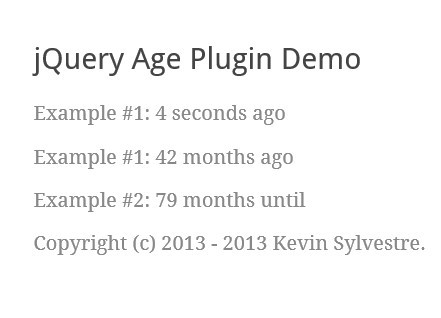 User Friendly Time Formatting Plugin with jQuery - Age