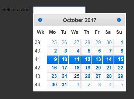 Configurable Week Picker Plugin With jQuery UI - Weekpicker
