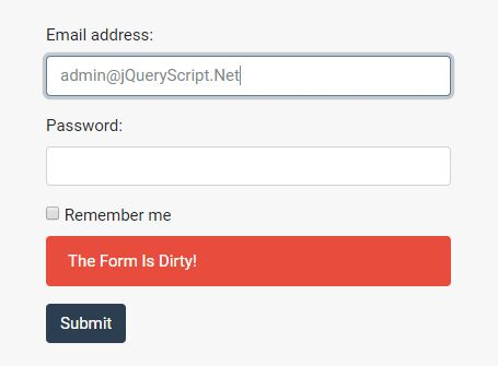 Alert User If Data In Form Was Changed - jQuery Dirty