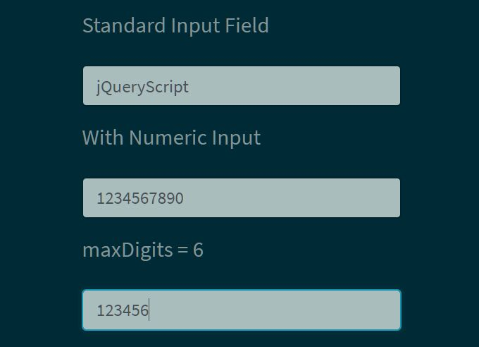 Allow Only Number In HTML Text Box - jQuery numericInput.js