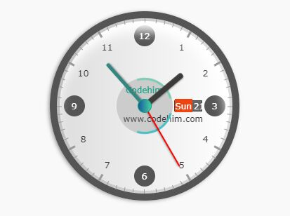 Realistic Analog Clock With jQuery And CSS3 - Codehim Clock